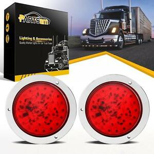 Pair 4 Round Sealed 40 Leds Truck Trailer Lights Stop Turn Tail Brake Lamps Red