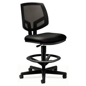 Hon Volt Series Mesh Back Adjustable Leather Office Task Drafting Stool Black