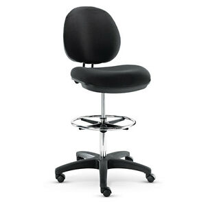 Alera Interval Series Swivel Task Drafting Stool Faux Leather Black Alein4616