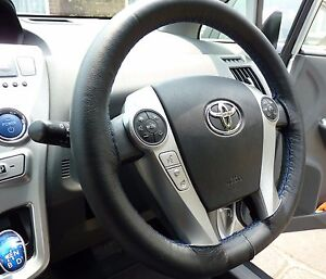 Fits Toyota Prius 3 09 15 Real Black Leather Steering Wheel Cover Blue Stitching