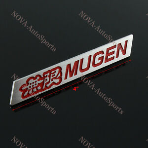 3d Car Trunk Spoiler Emblem Badge Sticker Decal Mugen Red For Honda Civic Si Lip