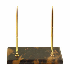 Desk Accessories Tiger Eye Marble Double Pen Stand