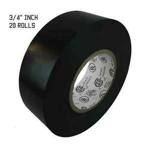 Tapessupply 20 Rolls Black Electrical Tape 3 4 X 66 Ft