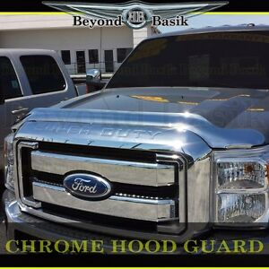 2011 2016 Ford Super Duty Chrome Bug Shield Deflector Hood Guard Protector