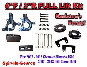 2007 2013 Chevy Silverado Gmc Sierra 1500 6 3 Spindle Full Lift Kit 2wd