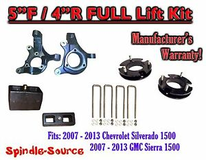 2007 2013 Chevy Silverado Gmc Sierra 1500 5 Inch 4 Spindle Lift Kit 2wd