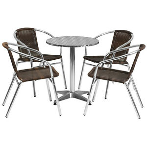23 5 Round Aluminum Indoor outdoor Restaurant Table With 4 Brown Rattan Chairs