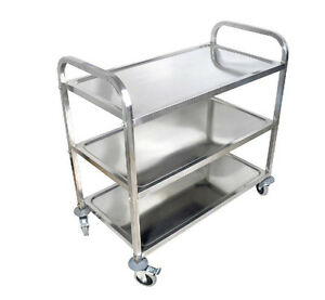 3 shelf Stainless Steel Kitchen Restaurant Utility Cart Rolling Serving Transpor