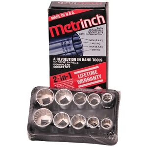 Original Metrinch Usa 10 Pc 1 2 Drive 12pt Socket Set New Free Shipping