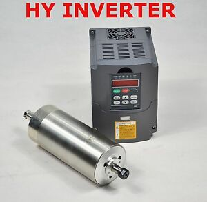 Water cooled 110v 1 5kw Cnc Spindle Motor And Matching Drive Inverter Vfd 12a