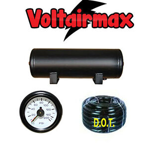 3 Gallon Air Tank 5 Port Air Ride Suspension Compressor 150 gauge Voltairmax