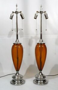 Pair Mid Century Retro Amber Ribbed Glass Teardrop Vintage Regency Table Lamps