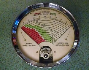 Vintage Jewell Countertop Tube Checker Dial Pattern 538 Tube Tester Gauge