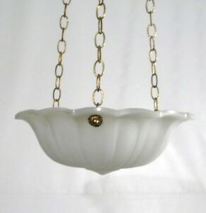 Art Deco Vintage Chatham Opaline Art Glass Hanging Regency Chandelier 1930s