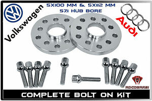 2 Pc 20mm Wheel Spacers 5x100 5x112 10 Lug Bolts Fits Audi Volkswagen