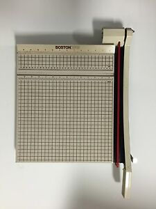 boston paper cutter A paper cutter (also known as a paper trimmer, also sometimes described as a paper guillotine) is a tool often found in offices and classrooms, designed to cut a large set of paper sheets at once with a straight edge.