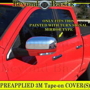 For 2009 2012 Dodge Ram 1500 Chrome Mirror Covers Overlay Painted Mirrorw Signal