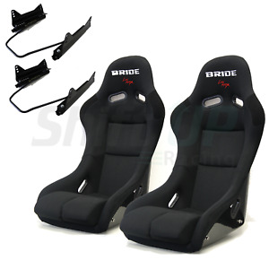 Bride Vios 3 Iii Black Low Max Pair Bucket Seats Racing Sliders Long Side Mount