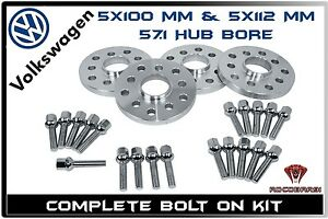 4 X 20mm Hub Centric Wheel Spacers Extended Lug Bolts Fits Vw Jetta Golf Gti