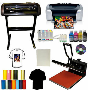 15x15 Heat Press metal Vinyl Cutter Plotter printer ciss tshirt Start up Bundle