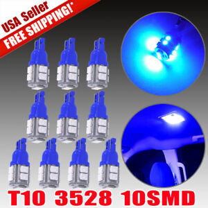 10x Blue T10 Bulb Canbus Led Interior Dome Instrument Panel Light 194 W5w 184
