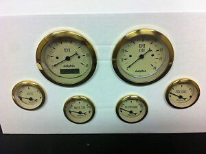 6 Gauge Hot Rod Street Rod Universal Dash Set Programmable Speedometer Gold