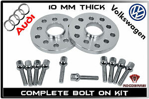 2 Pc Audi Volkswagen 10mm Hub Centric Wheel Spacers 5x100 5x112 W 10 Ball Bolts