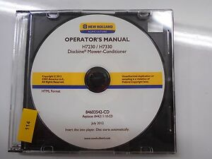 New Holland H7230 H7330 Discbine Mower conditioner Operators Manual Cd