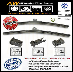 2pc 26 24 Premium All Season Frameless Wiper Blades Oem Quality Replacement