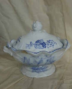 19th C Staffordshire Purple Transferware Tureen American Birds Rare Edwards
