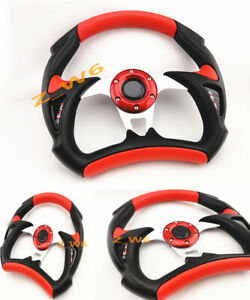 Pvc Universal Jdm 6 Hole Bolt Lug 320mm Racing Steering Wheel W Horn Button