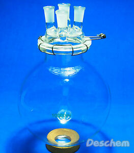 10000ml 24 29 round Bottom Glass Reaction Kettle 10l 4 neck lab Chemical Reactor