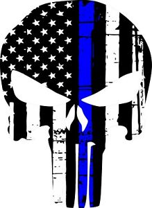 Punisher Skull American Flag Police Blue Line Decal Graphic Various Sizes