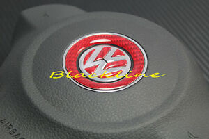 For Vw Red Carbon Fiber Steering Wheel Emblem Decal Golf V Gti Cc Eos Jetta R
