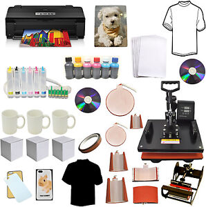 8in1 Sublimation Heat Transfer Press Epson 13x19 Large Wireless Printer Ciss Kit