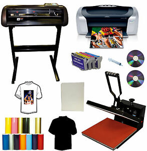 15x15 Heat Press plotter Printer Bundle all Metal Cutter printer refil Ink pu