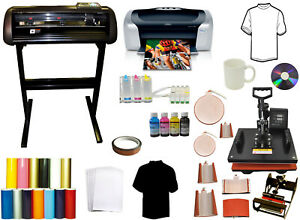 8 In 1 Combo Heat Press metal Vinyl Cutter Plotter printer ciss tshirts Bundle