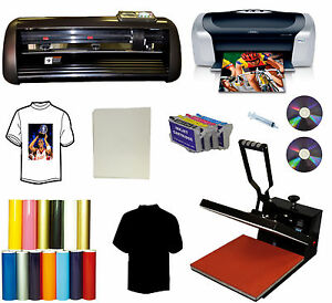15x15 Heat Press printer pu Vinyl 14 Cutter Plotter Printer Decal Sign Bundle