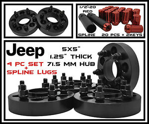 4 Pc Black Jeep 1 25 Thick 71 5 Hubcentric Wheel Spacers Red Spline Lug Nuts