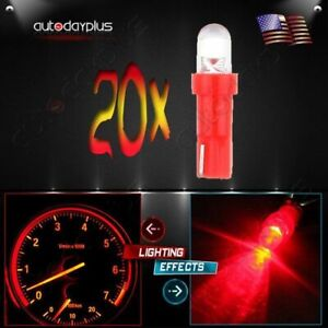 20pcs T5 Instrument Cluster Panel Gauge Dash Led Bulbs Light 17 57 37 73 74 Red