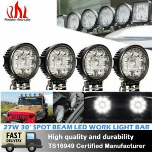 4pcs 27w Spot Round Led Work Light Offroad Fog Driving Drl Suv Atv Truck 4wd