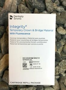Integrity A1 Temporary Crown And Bridge Material dentsply 666210 Exp 2019 02