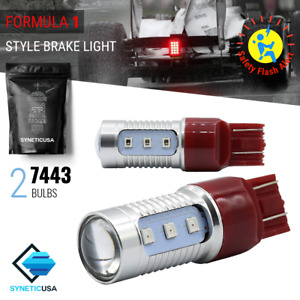 Syneticusa 7443 7444 Bright Red Flash Strobe Rear Brake Tail Stop Led Light Bulb