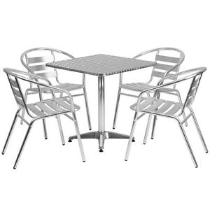 27 5 Square Aluminum Indoor outdoor Restaurant Table With 4 Slat Back Chairs