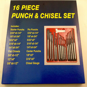 16 Pc Professional Punch And Chisel Set Punching Scoring Cutting Set