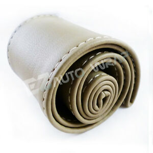 Pvc Leather Steering Wheel Cover With Needles Thread Diy Beige Size M Usa Kf