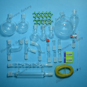 30pcs 24 29 organic Chemistry Glassware Kit laboratory Chemistry Kit lab Glass
