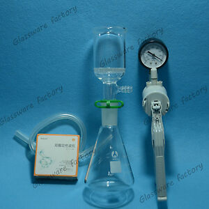 500ml suction Filtration Kit 50mm Buchner Funnel 500ml Flask Vacuum Pump 24 40