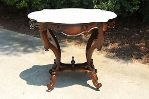 Fabulous Walnut Victorian Rococo Turtle Marble Top Center Parlor Table Ca1860