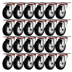 24 Pack 3 Swivel Caster Wheels Rubber Base With Top Plate Bearing Heavy Duty